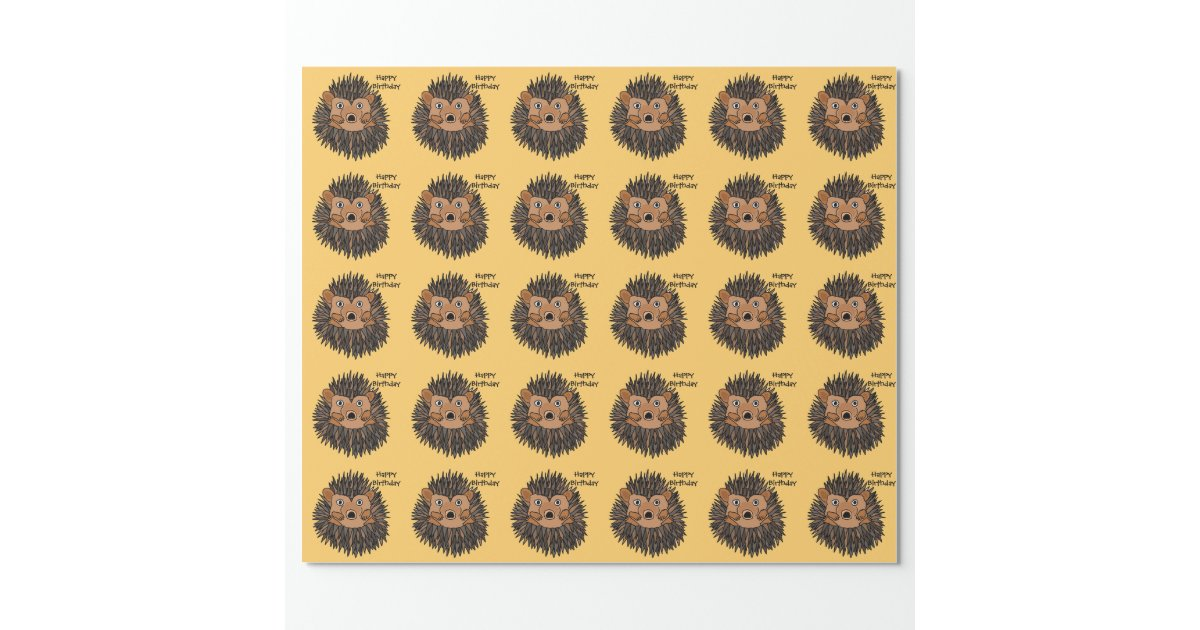 Funny Baby Hedgehog Birthday Giftwrap Wrapping Paper | Zazzle