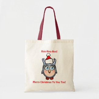 Funny Baby Hoot With Santa Hat Tote Bag