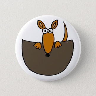 Funny Baby Kangaroo in Pouch Cartoon Pinback Button