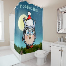 Funny Baby Owl With Cute Christmas Hat Shower Curtain