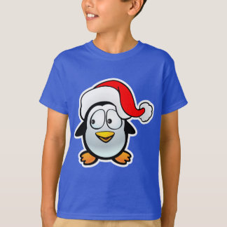 Funny Baby Penguin With Santa Claus Hat T-Shirt