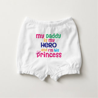 Funny baby quote Hero daddy and princess daughter Diaper Cover