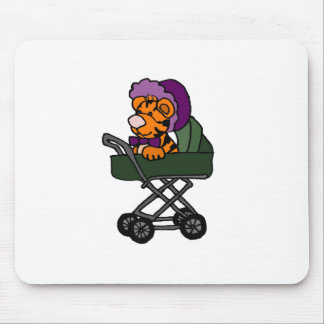 Funny Baby Tiger in Baby Carriage Cartoon Mouse Pad