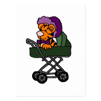Funny Baby Tiger in Baby Carriage Cartoon Postcard
