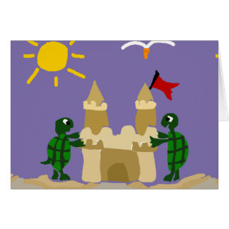 Funny Baby Turtles Building Sand Castle Greeting Card