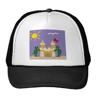 Funny Baby Turtles Building Sand Castle Trucker Hat
