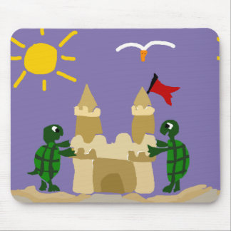 Funny Baby Turtles Building Sand Castle Mouse Pad