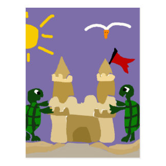Funny Baby Turtles Building Sand Castle Postcard