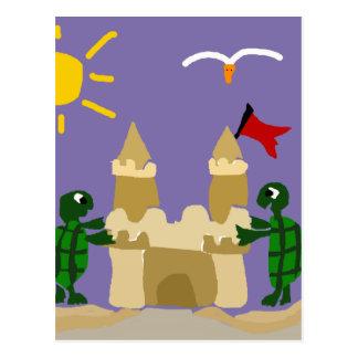 Funny Baby Turtles Building Sand Castle Postcard