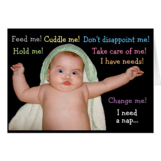 Funny baby with needs card