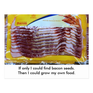Funny Bacon Food Gardening Postcard.  Postcrossing Postcard