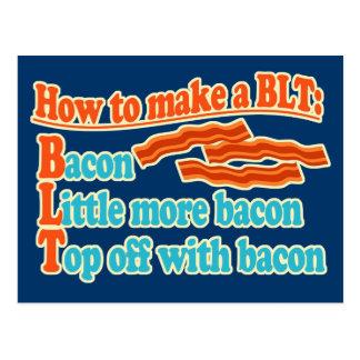 Funny Bacon Humor BLT Sandwich Postcard