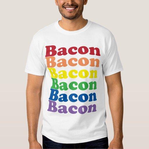 funny bacon rainbow colors text tshirt