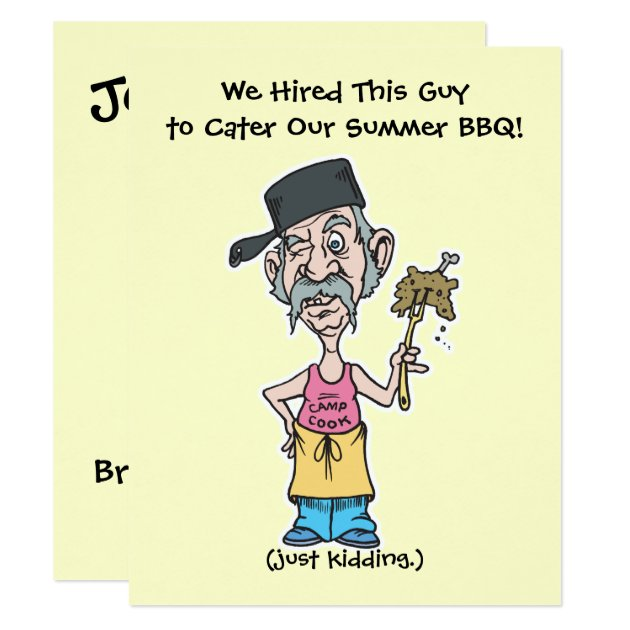 funny bad camp cook summer bbq party card zazzlecom
