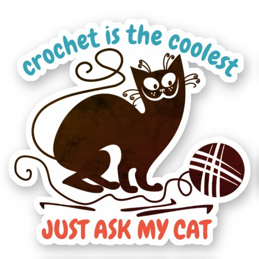 Funny bad kitty cat helps with crochet sticker