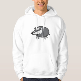 Funny Badger on White Hoodie