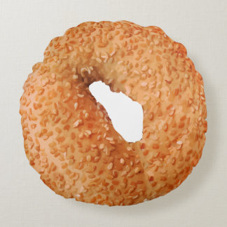 Funny Bagel Novelty Round Pillow