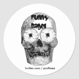 Funny BagelLogo, twitter.com / profitsee Round Sticker