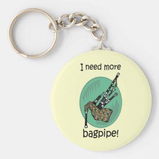 Funny bagpipe basic round button keychain