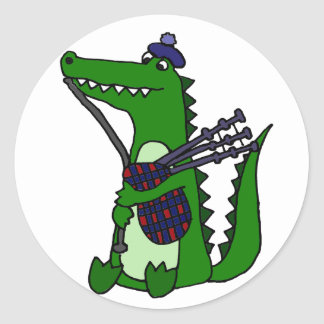 Funny Bagpipe Playing Alligator Classic Round Sticker