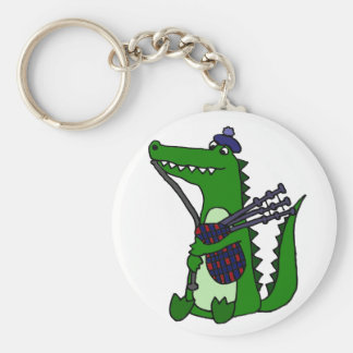 Funny Bagpipe Playing Alligator Keychain