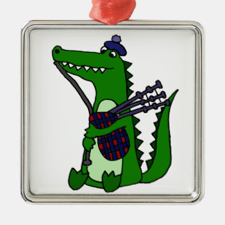 Funny Bagpipe Playing Alligator Metal Ornament