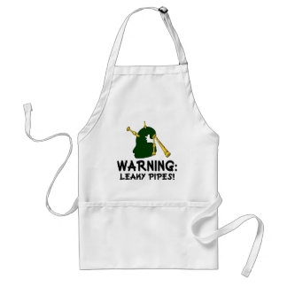 Funny Bagpiper Warning Leaky Pipes Gift Adult Apron