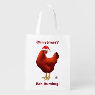 Funny Bah Humbug Chicken in Santa Hat Poops xmas Reusable Grocery Bag