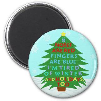 Funny Bah Humbug Christmas Poem 2 Inch Round Magnet