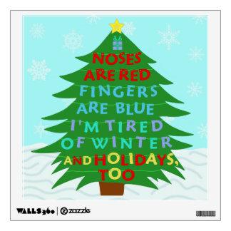 Funny Bah Humbug Christmas Poem Wall Sticker