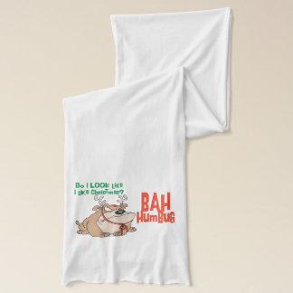 Funny Bah Humbug Dog Christmas Scarf