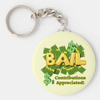 Funny Bail Money T-shirts Gifts Basic Round Button Keychain