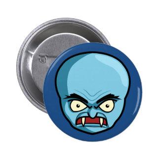 Funny Bald Blue Demon Pinback Button