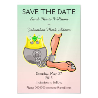 Funny Ball And Chain Save the Date Magnetic Card
