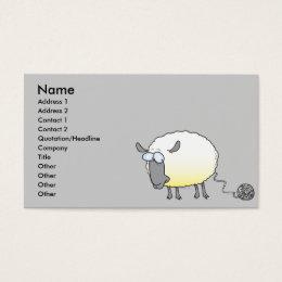 funny ball of yarn cloned sheep cartoon business card