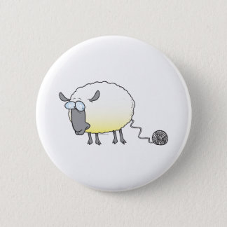 funny ball of yarn cloned sheep cartoon button