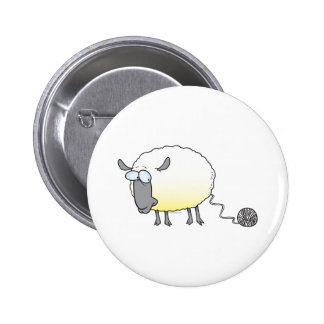 funny ball of yarn cloned sheep cartoon button