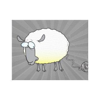 funny ball of yarn cloned sheep cartoon canvas print