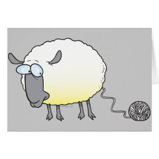 funny ball of yarn cloned sheep cartoon card