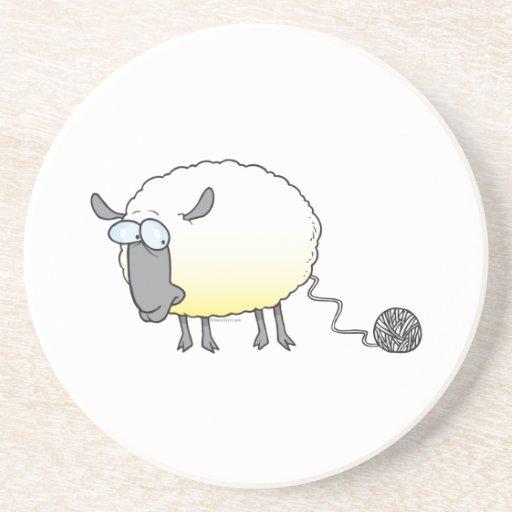 funny ball of yarn cloned sheep cartoon drink coasters