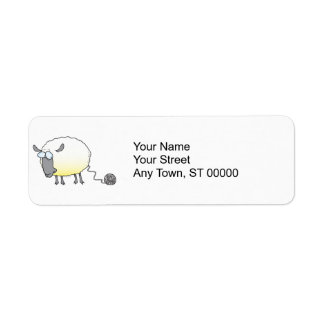 funny ball of yarn cloned sheep cartoon label