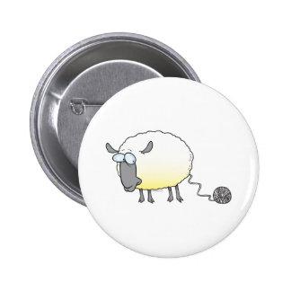 funny ball of yarn cloned sheep cartoon pin