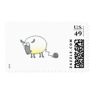 funny ball of yarn cloned sheep cartoon postage stamp
