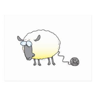 funny ball of yarn cloned sheep cartoon postcard