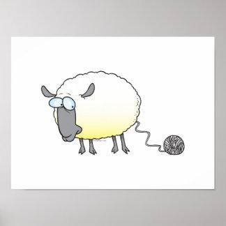 funny ball of yarn cloned sheep cartoon poster