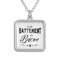 Funny Ballet Battement for Bacon square Silver Plated Necklace