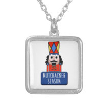 Funny Ballet Nutcracker Season square Silver Plated Necklace