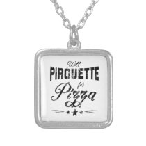 Funny Ballet Pirouette for Pizza square Silver Plated Necklace