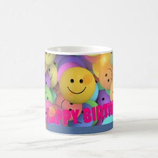 Funny Balloon Smiling Faces Happy Birthday Wishes Coffee Mug