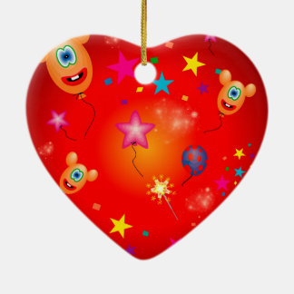 Funny balloons and stars Double-Sided heart ceramic christmas ornament